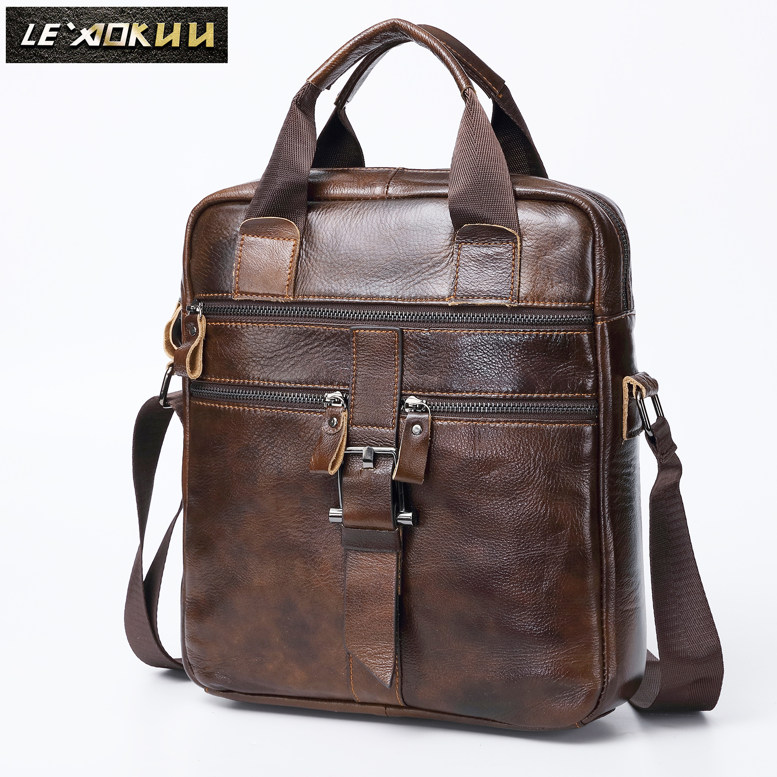 "Quality Original Leather Male Casual Shoulder Messenger bag Cowhide Fashion Cross body Bag 9"" Pad Tote Mochila Satchel bag 1062