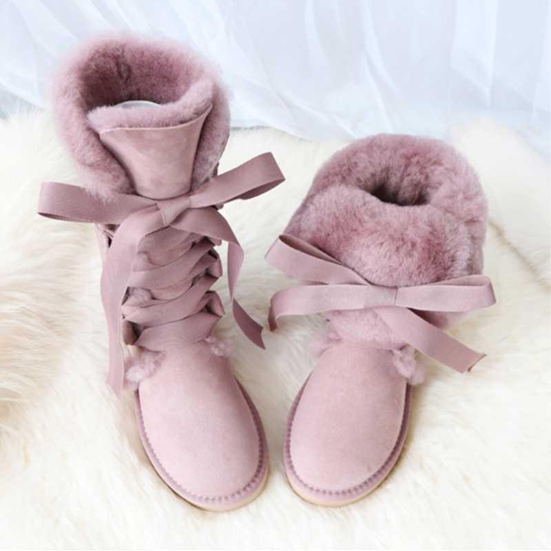 G & Zaco diz yüksek hakiki koyun derisi çizmeler ayakkabı deri kar botları avustralya bayan yün çizme koyun kürk dantel up kış botu