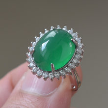 Drop Shipping Women's Ring Natural Green Agate Chalcedony Egg Sliver S925 Jade Ring Gift for Female's Fine Jewelry(China)