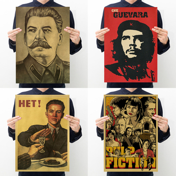 Pulp fiction,refusing to drink,celebrity Che Guevara, portrait of Stalin retro kraft poster bar cafe home restaurant decoration image