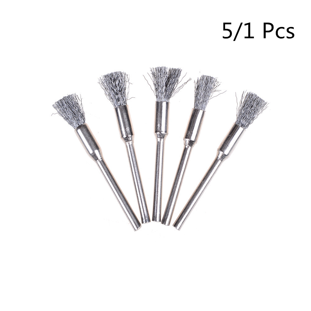 1/5Pcs 5mm Steel Wire Wheel Brush For Metal Rust Remover Brush Wood Carving Jade Polishing Grinder Dremel Rotary Tool Brush