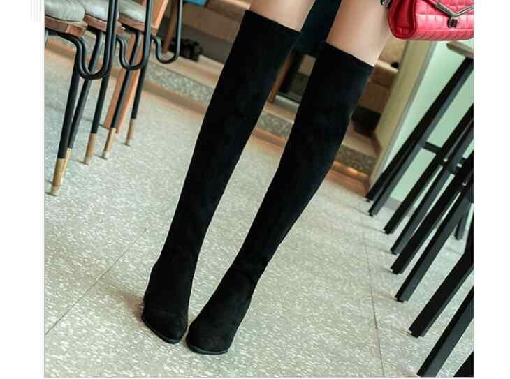Automne belles femmes sur le genou bottes hautes mode tout Match bout pointu chaussures d'hiver élégant tout Match femmes bottes
