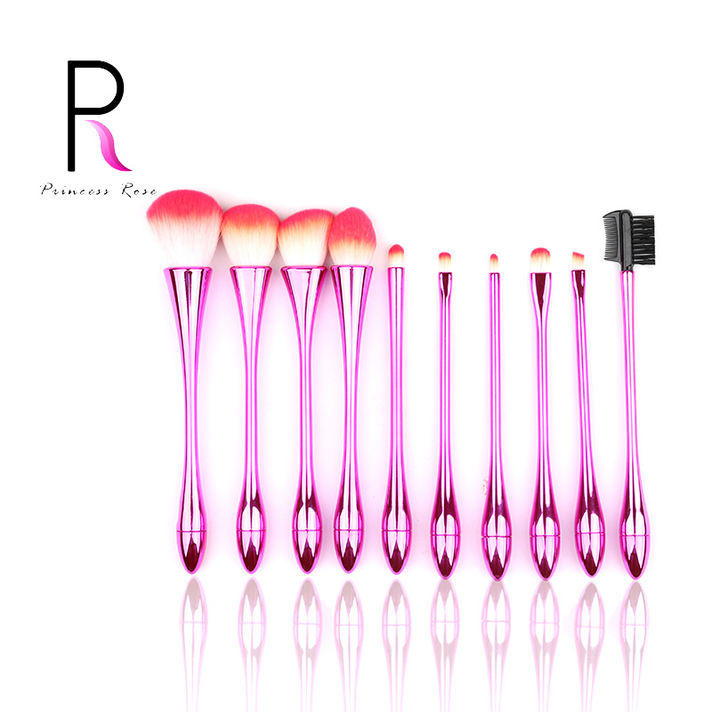 Breloque rose poli 10 pièces de luxe professionnel ombre à paupières blush base de cils correcteur maquillage brosse ensemble avec boîte de maquillage
