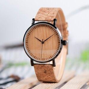 Image 1 - BOBO BIRD Ultra Thin Metal Male Watch Men Women Ladies Simple Quartz Wristwatches Cork Band relojes para mujer Dropshipping