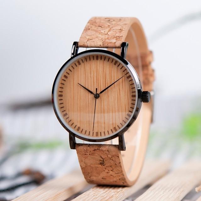 BOBO BIRD Ultra Thin Metal Male Watch Men Women Ladies Simple Quartz Wristwatches Cork Band relojes para mujer Dropshipping