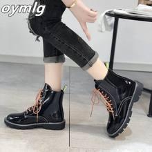 Брендовая женская обувь на шнуровке круглый носок осенние ботинки;