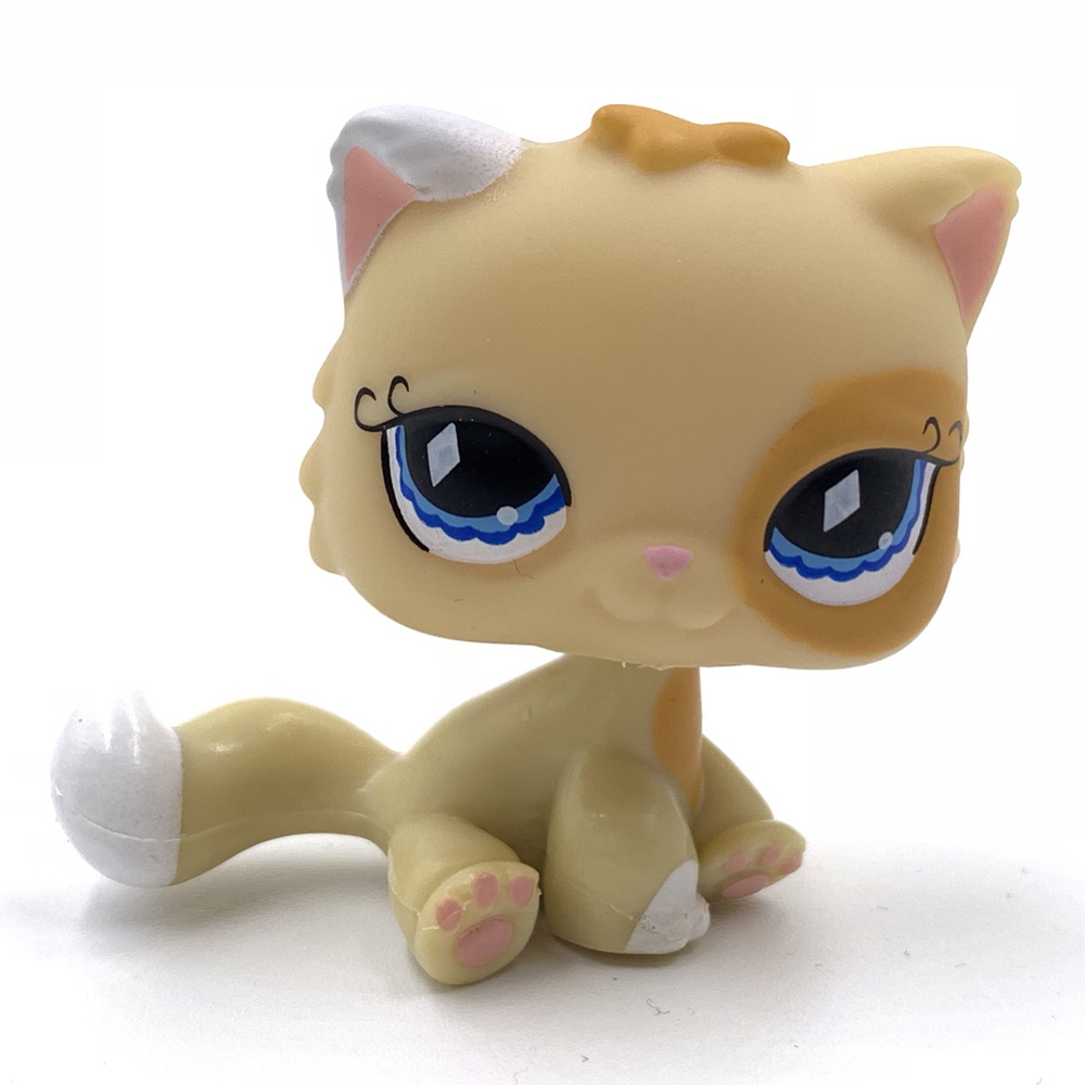 Pet Shop Lps Toys Old Original  SIAMESE Cat #521 Yellow Orange Persian Kitty Cute Blue Eyes Kitten For Girls Collection