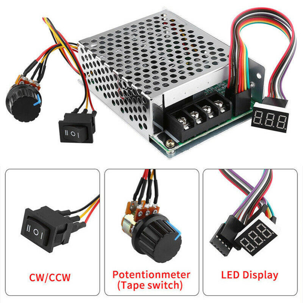 DC10-50V 12V 24V 36V 60A PWM Motor Speed Controller Reversible Switch Set DC Brush Motor Tools Accessories Supplies