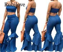 Rubilove Denim Two Piece Set Summer Strapless Crop Top and Bell Bottom Jeans Flare Pant Suit Matching Sets Outfits Sexy 2