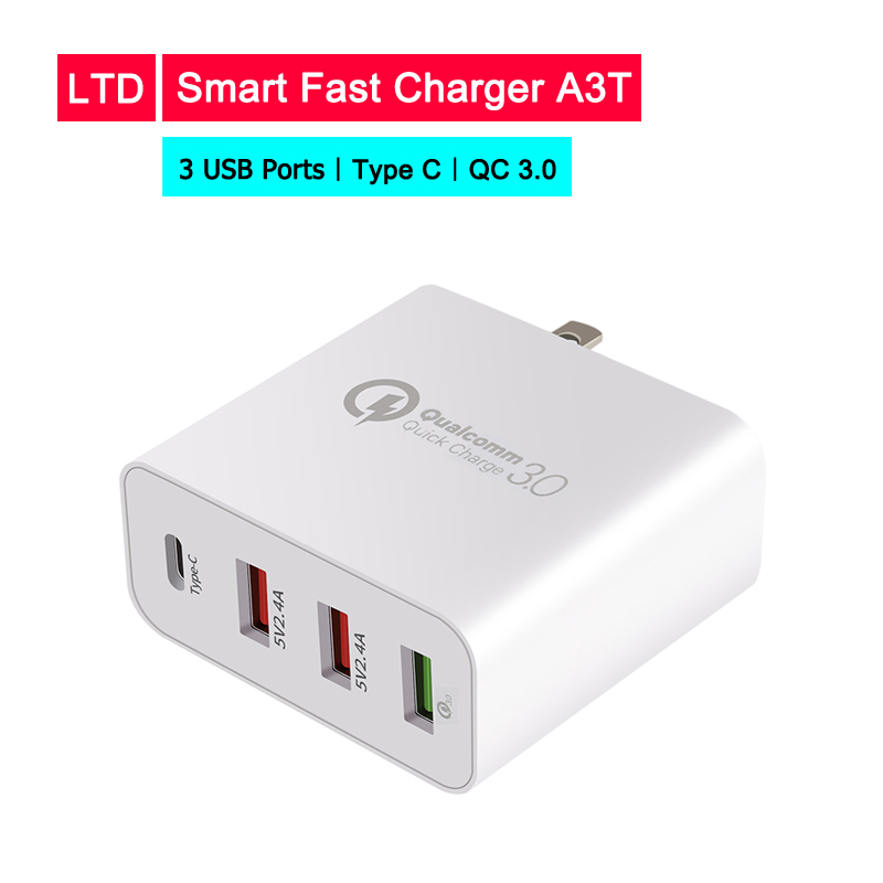 Universal USB Quick charger 5V 10A for iPhone Fast charging 3 USB Ports With Type C for Samsug s8 s9 For Huawei P30 Pro For Mi8 in Mobile Phone Chargers from Cellphones Telecommunications