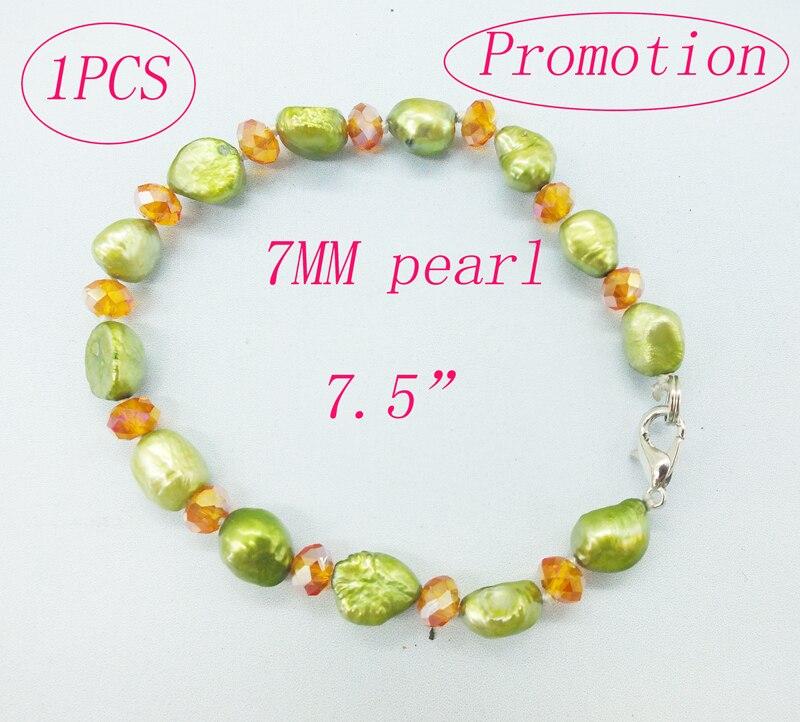 """Промо-Акция! 4 мм натуральный жемчуг браслет 7,5"""" - Metal Color: Promotion  1pcs"""