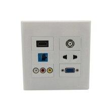 цена на 120 X 120mm Face Plate Socket HDMI VGA CAT6 RJ45 3RCA AV TV AC Power Wall Plate Power Outlet  Multifunctional Socket