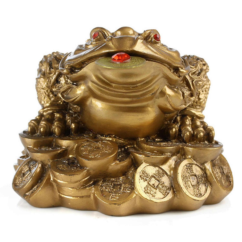 De la Mini moneda de la suerte china, Rana Feng Shui sapo, dinero fortuna y riqueza para la decoración de la Oficina, adornos de mesa, regalo de la suerte 1 unidad