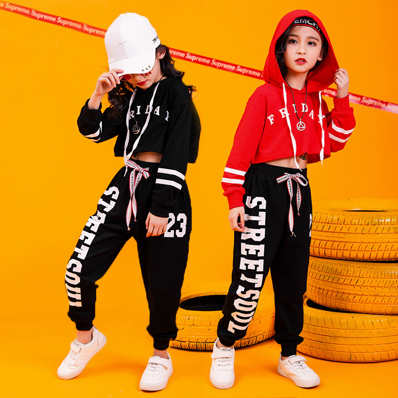 Junjun Nannan Children Hip Hop Set Girls Handsome Jazz Dance Costume Hiphop Hip Hop Loose-Fit Performance Wear