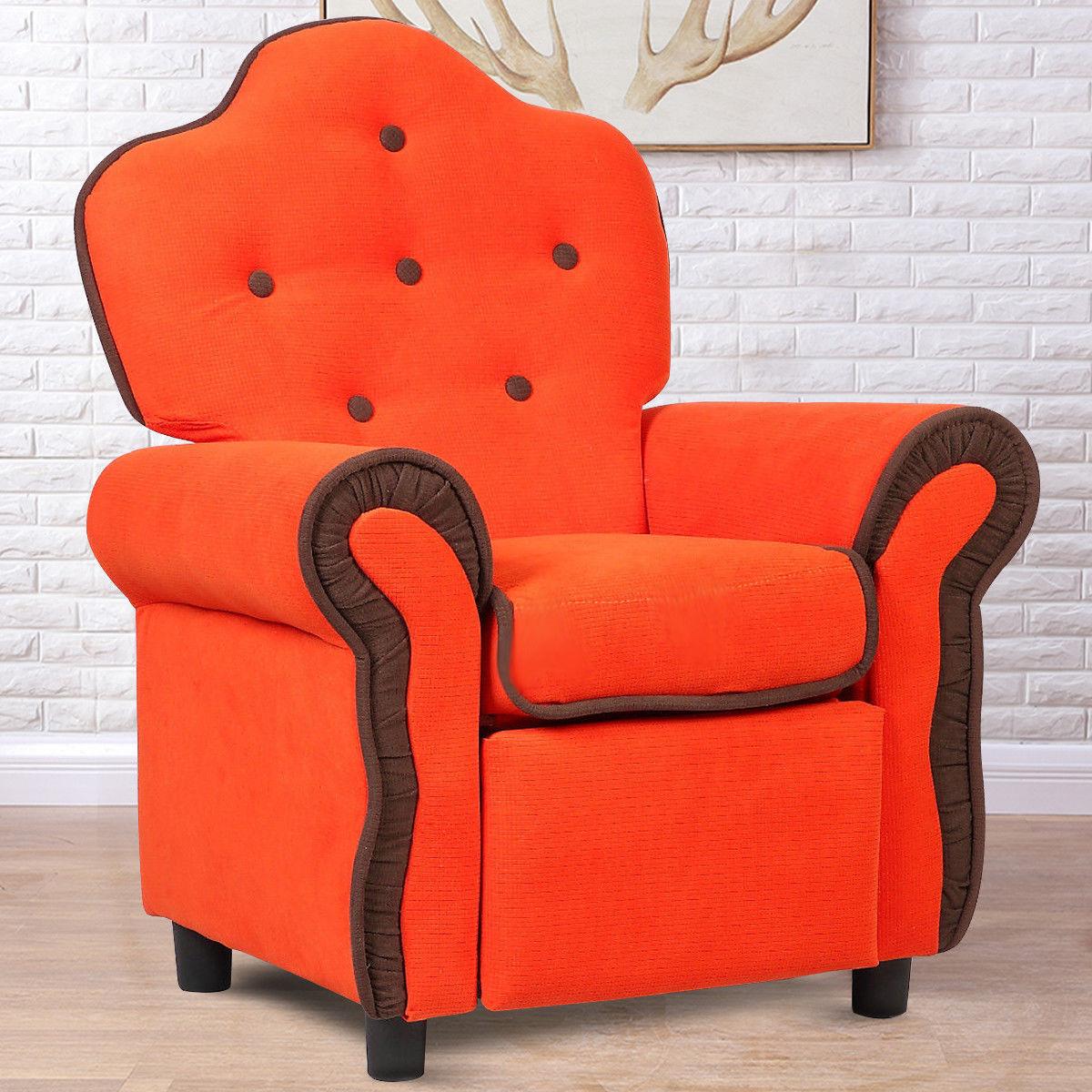 Children Recliner Kids Sofa Chair Couch Living Room Furniture Orange