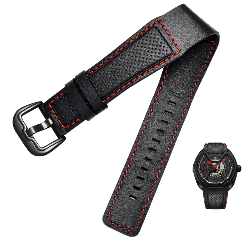 New Trend Leather Watch Band For Dietrich OTC-AO1 OT-3 Strap Black 24mm Bracelet Stomata Cowhide Black Wristwatches