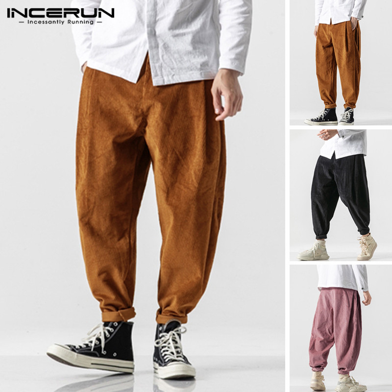 INCERUN Fashion Corduroy Men Pants Joggers Solid Vintage Button Loose Casual Harem Pants Men Streetwear Trousers Plus Size 2020
