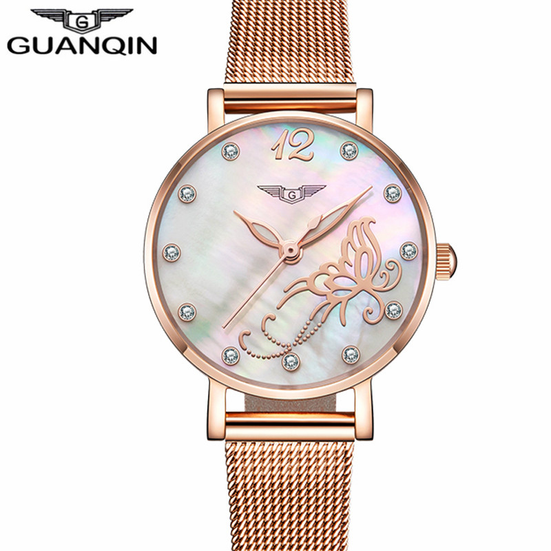 Reloj Mujer GUANQIN Luxury Brand Women Watches Gold Full Steel Bracelet Quartz Watch Women's Fashion Wristwatch Relogio Feminino