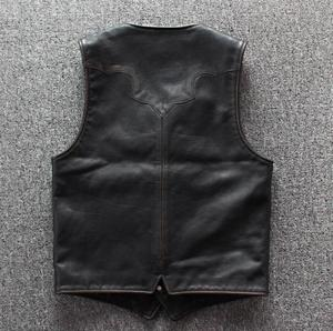 Image 2 - Men Cowhide Genuine Leather Vest  Motorcycle Biker Leather Vests Mens Real Leather Vintage Casual Sleeveless Jackets Waistcoat