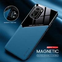 F3poco de cuero textura soporte magnético coche cubre para teléfono móvil poco f3 f 3 5g pocof3 Marco de silicona a prueba de golpes a prueba de coque