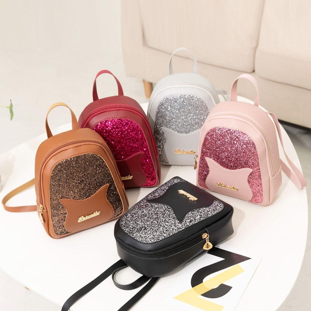 Plush Backpack PU Leather Shoulder Bag For Teenage Girls Kids Mini School Bags Korean Style Phone Messenger Purse New Fashion