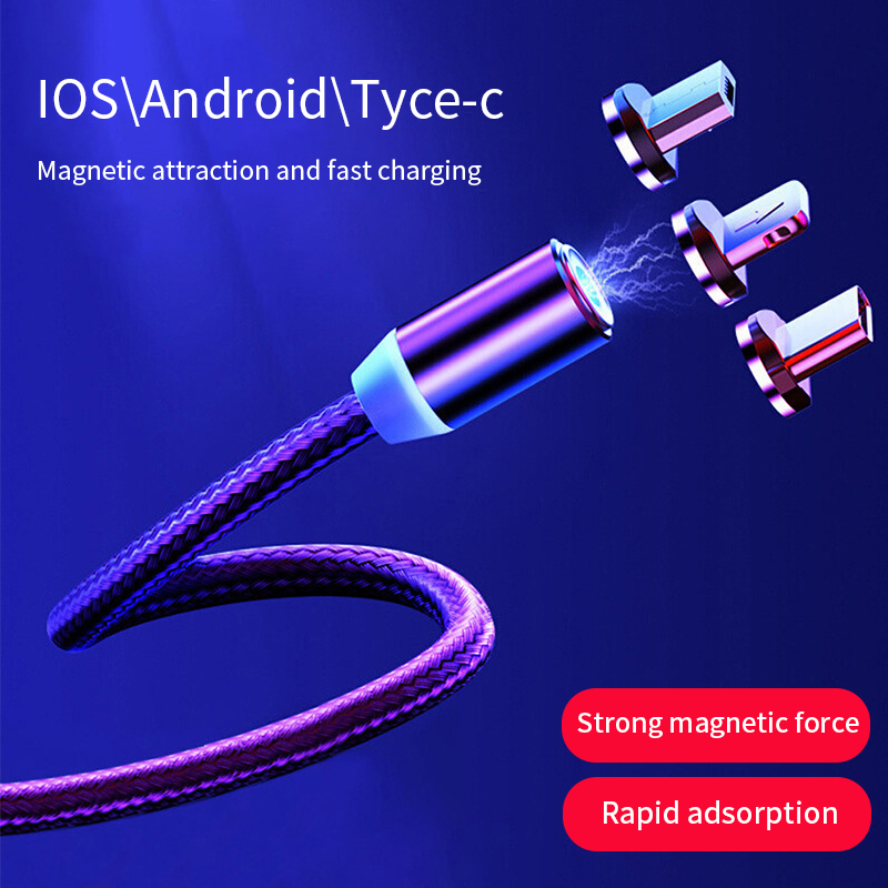Magnetic USB Cable Fast Charging For Iphone <font><b>Samsung</b></font> Micro USB Data line for Xiaomi Redmi Cord Magnet Charger TYPE C Connector image