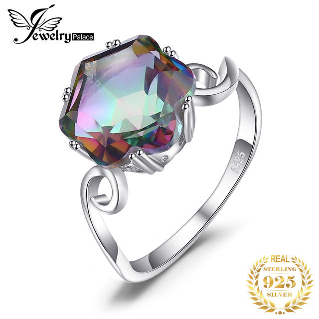 JewPalace 4ct Genuine Rainbow Mystic Topaz Ring 925 Sterling Silver Rings for Women Engagement Ring Silver 925 Gemstones Jewelry