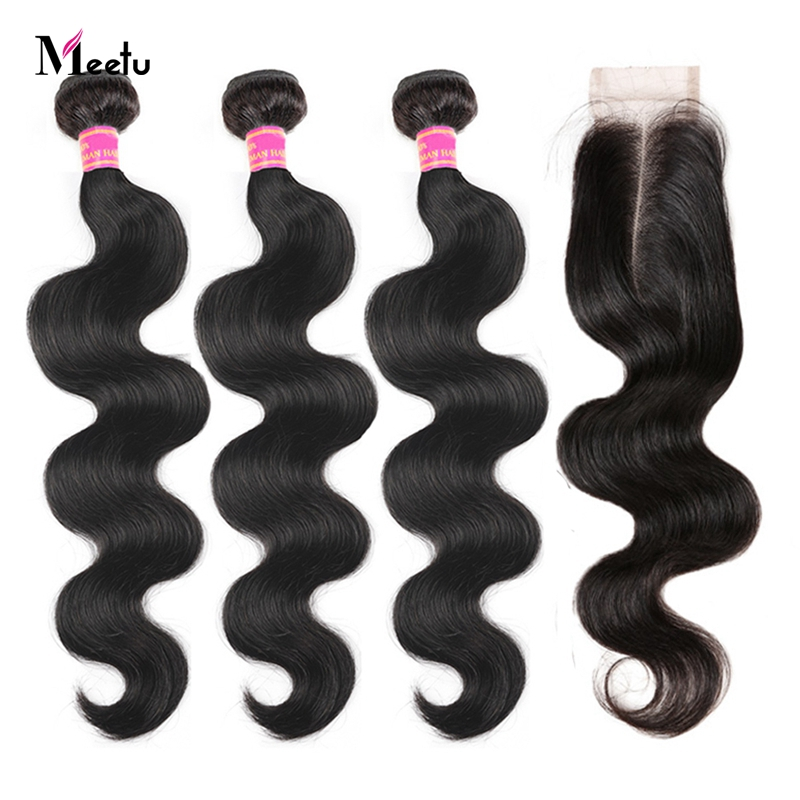 Brazilian Body Wave Sew In With Closure 100% Human Hair Meetu Non Remy Hair Weft Natural Color Hair 3 Bundles With Lace Closure