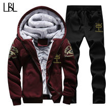 Spring Warm Hooded Sporting Suit Mens Winter Men Set Polerones Hombre Fashion Brand Fleece Lined Thick Tracksuit + Pants Male(China)