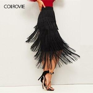 Image 3 - COLROVIE Black Layered Fringe Detail Pencil Skirt Women 2019 Summer Ladies Midi Skirt High Waist Bodycon Glamorous Solid Skirts