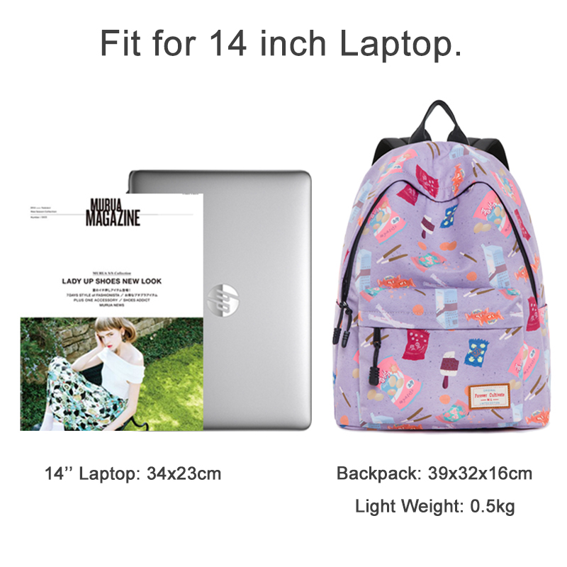 Forever Cultivate Backpack Women Canvas School Bag Girl Large Capacity College Student Bookbag 14'' Laptop Backpack High Quality
