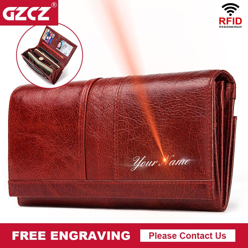 GZCZ Leather Wallet Women Fashion Clutch Wallet Female Coin Purse Portomonee Clamp For Phone Bag Long Lady Handy Card  Holder