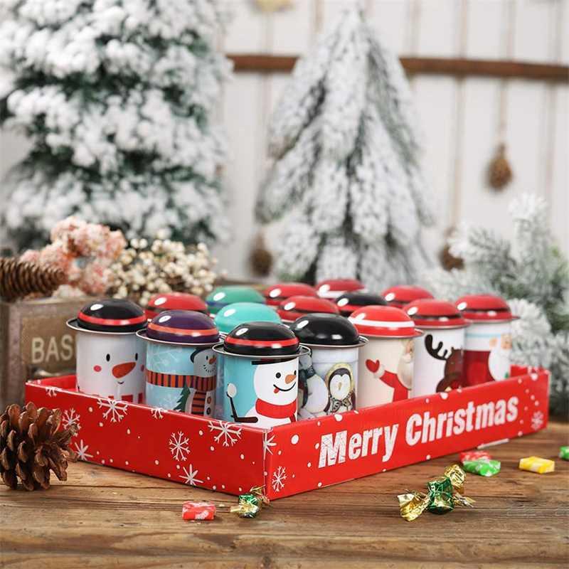 Комплект из 2 предметов коробка с рождественскими конфетами рождественские украшения Железный контейнер для хранения коробка детская коробка для поздравительных открыток бутылка прозрачные подарочные коробки сахар