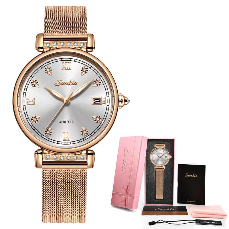 SUNKTA 2019 רישום עלה זהב נשים שעונים קוורץ שעון גבירותיי למעלה מותג היוקרה לצפות ילדה שעון Relogio Feminino + תיבה