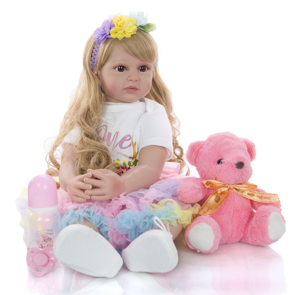 Grand 60 cm bebes Reborn bambin fille poupées réaliste princesse blonde perruque silicone vinyle Reborn bébé poupée lol pour enfants cadeau jouets - 3