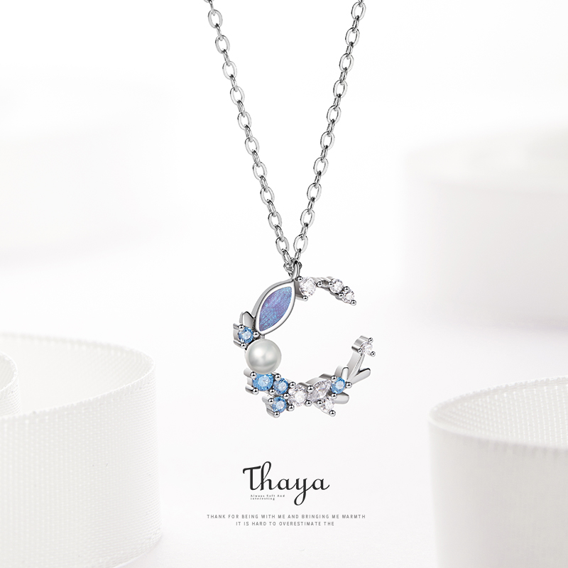 Thaya Wedding Nacklaces Crystal Romantic Wreath Necklace Vintage Design 925 Sterling Silver Flower Necklace For Women Jewelry
