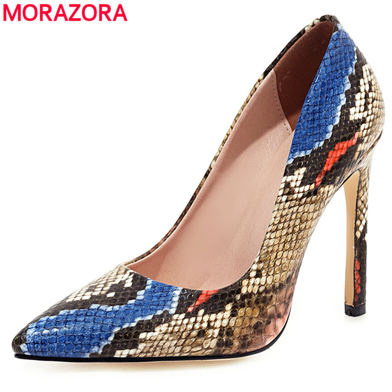 MORAZORA 2020 Plus Size 34-46 New Women Shoes Basic High Heel Shoes Female Snake Printed Toes Sexy Ladies Party Dress Shoes