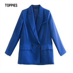 Toppies 2021 Woman Blazer Jacket Double Breated Long Blazer Ladies Suit Jacket Female Solid Color Loose Coat