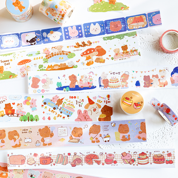 Cream Rabbit And Cocoa Bear Series Journal Washi Masking Tape Decorative Adhesive Tape DIY Scrapbooking Sticker Label Stationery