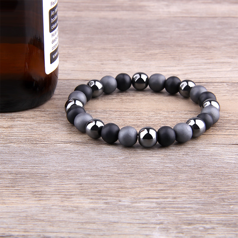 Tiger Eye & Hematite Bracelets Men 10mm Natural Obsidian Beads Bracelets for Women Protection Magnetic Health Jewelry CLOVER JEWELLERY