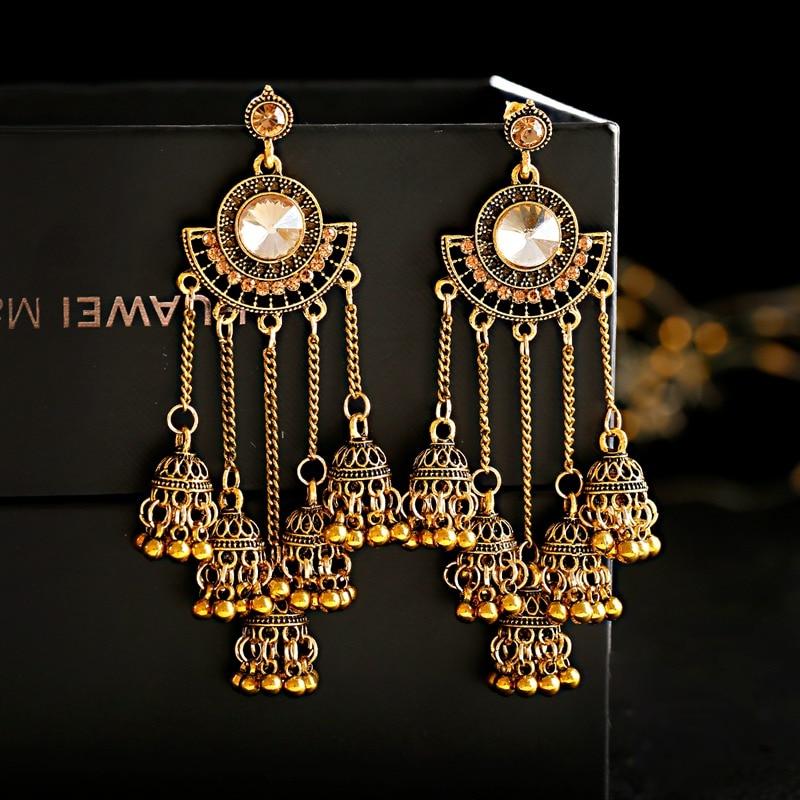 Women's Retro Big Gold Jhumka Earrings Indian Jewelry Classic White Beads Long Chain Tassel Dangle Earrings Hangers