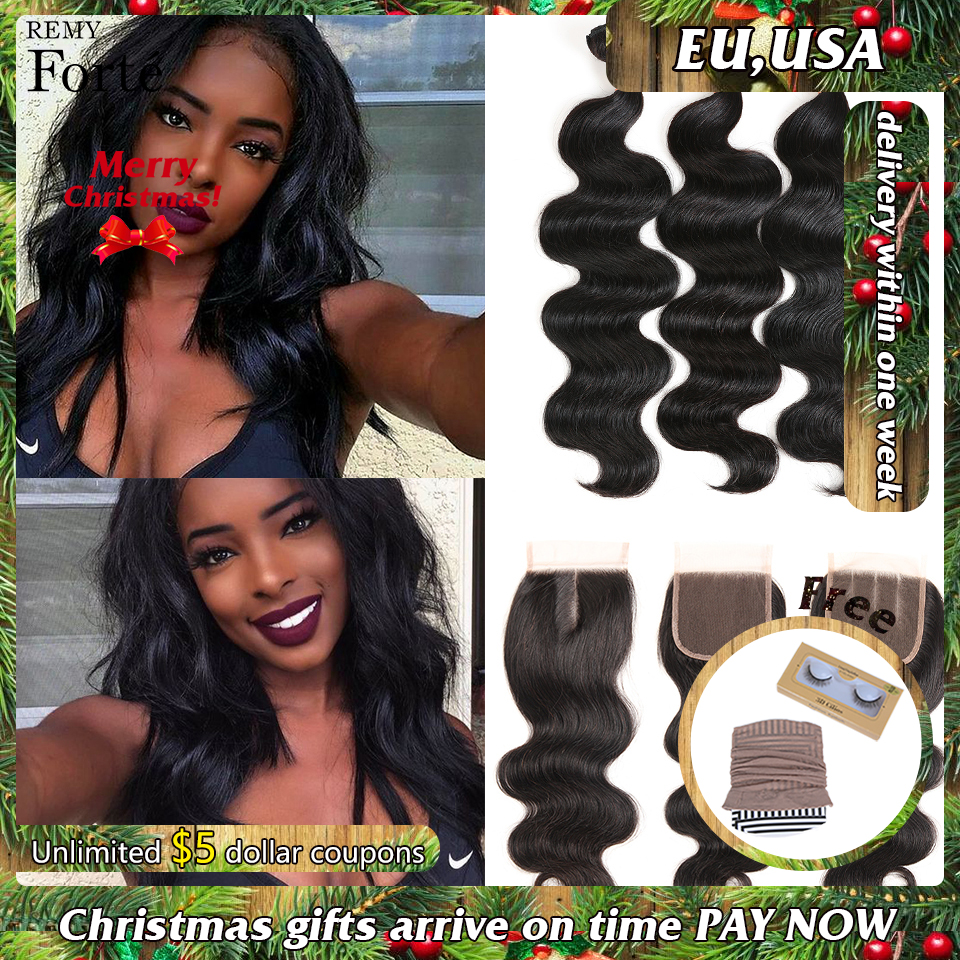 Remy Forte Body Wave Bundles With Closure 30 Inch Bundles With Closure  Brazilian Hair Weave Bundles 3/4 Bundles With Closure