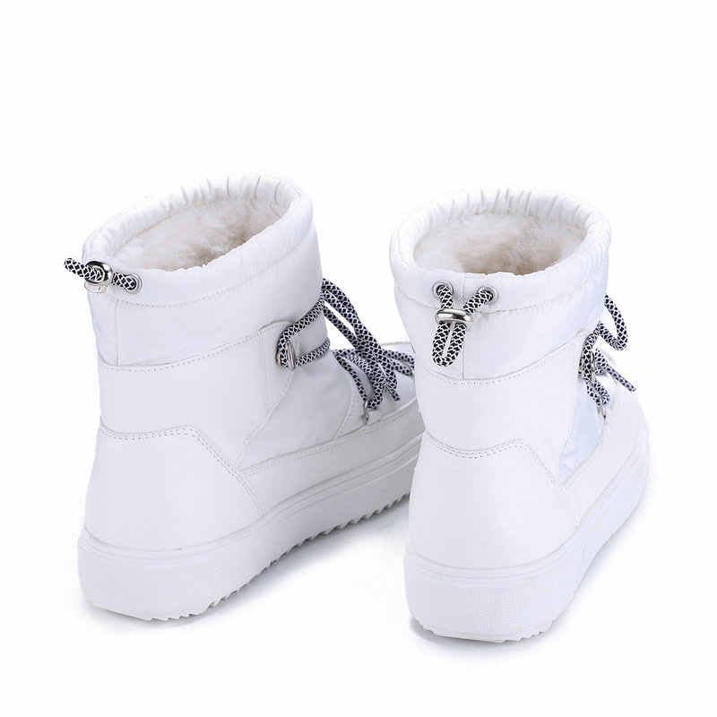 ผู้หญิงฤดูหนาวหิมะ BOOT ขนสัตว์ธรรมชาติ 50% Blend แฟชั่นสีดำสีขาว burgendy สี Lace Up สั้นสไตล์ฟรีการจัดส่ง