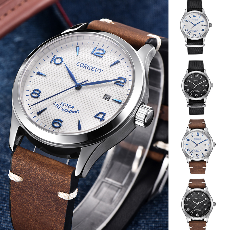 Corgeut 42mm Watch Men Automatic Mechanical Luxury Brand Sport Design Sapphire Glass Clock Leather Strap Luminous Wrist Watches