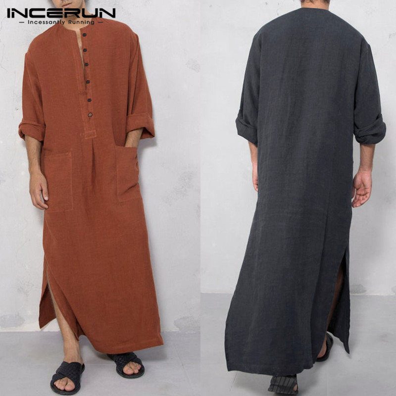 INCERUN Vintage Men Islamic Arabic Jubba Thobe Long Sleeve Solid Pockets Robes Men Saudi Arabia Abaya Dress Muslim Kaftan 2020