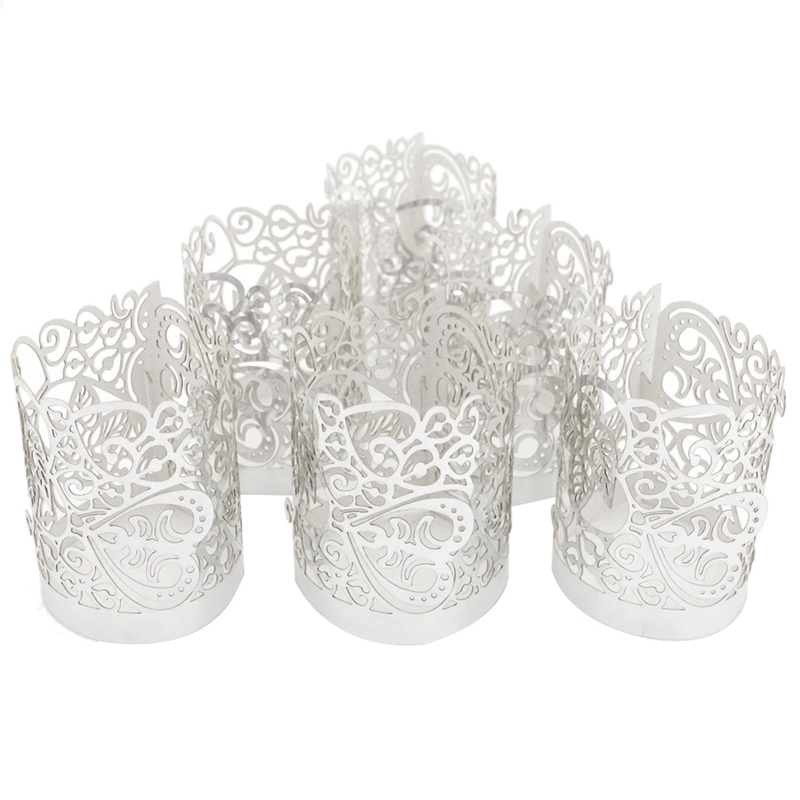 48 Pcs Flameless Tea Light Votive Wraps,HVotive Candle Holders,Silver Colored Cut Flameless Tea Light Votive Wraps Decorative Wr