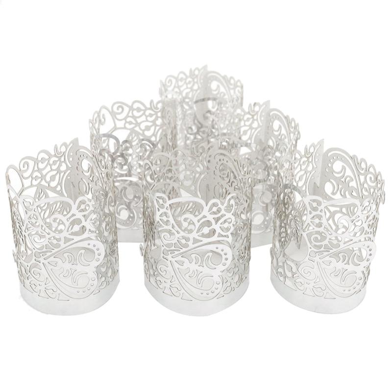 48 Pcs Flameless Tea Light Votive Wraps,HVotive Candle Holders,Silver Colored Cut Flameless Tea Light Votive Wraps Decorative Wr