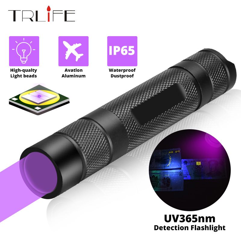 UV Flashlight 365nm Ultra Violets Mini Ultraviolet Lanterna IP65 Waterproof Invisible Torch For Pet Stains Use 18650 EDC Light