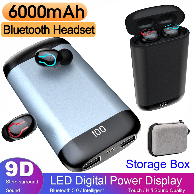 Q66 TWS Wireless Bluetooth Earphone HD Stereo Headphone Sports Waterproof Headset With 6000mAH Battery Charger Box and USB Cable