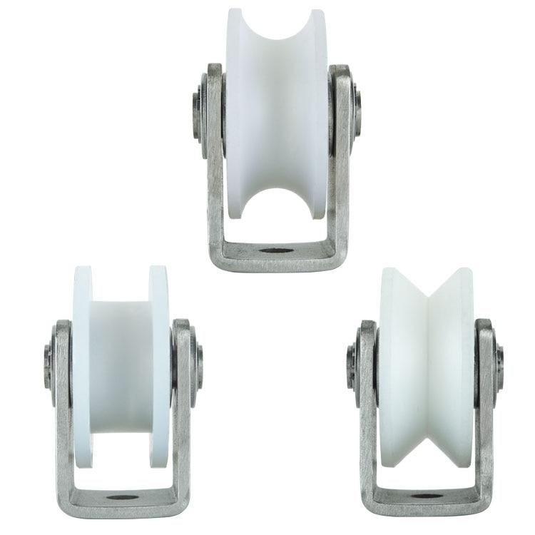 304 Stainless Steel Brackets Nylon 3 Inch Pulley Sheave Heavy Loads Guiding Wheel Roller Sliding Gate Barn Door Hardware
